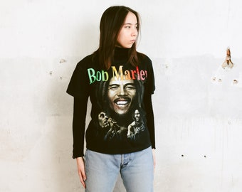 46c66971b4e3 Vintage Bob Marley T-Shirt . 90s Reggae Music Tee Shirt Graphic Print Tee  Unisex Black T-Shirt Festival Top Cotton T-Shirt . size Medium