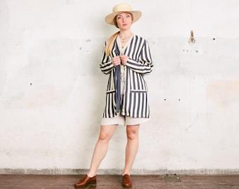 3a3de4011593b 90s Airy Cover Up Jacket . Lightweight Summer Jacket Humbug Striped Vintage  Longline Blazer Women Layering Jacket V Neck Jacket . size Large