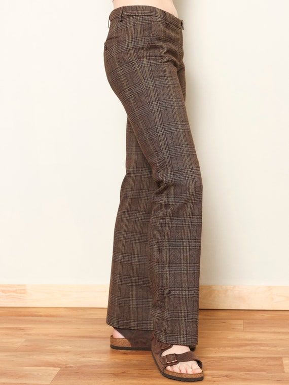 Plaid Flare Pants women vintage 80s checkered pan… - image 4