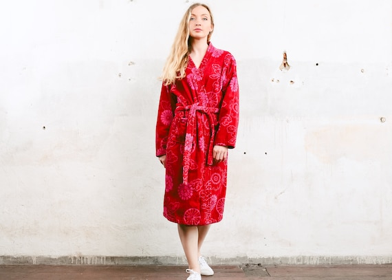 Women's Terry Cloth Robe . Y2K Floral Red and Pink