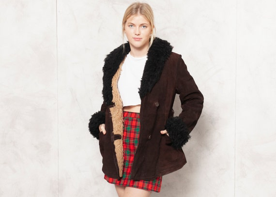 70s Sheepskin Jacket Brown Suede Jacket Black Shea