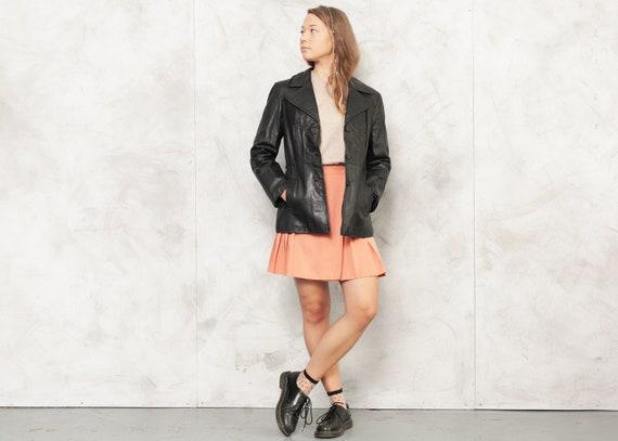 80s Black Leather Jacket Vintage Black Leather Bla