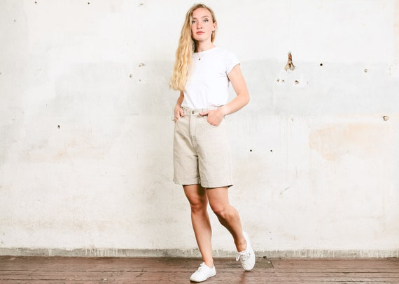 Vintage Linen Blend Shorts . 90s High Rise Summer