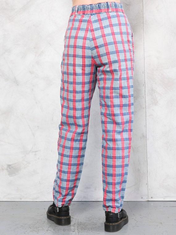 Plaid Cotton Pants vintage 80s checkered artist p… - image 4