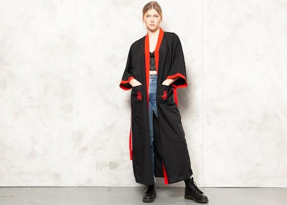 Chinese Dragon Robe Vintage 90s Black Kimono Robe