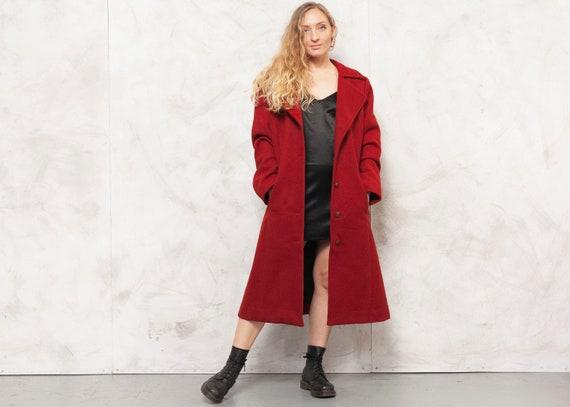 Red Wool Coat Vintage 70s Women Coat New Wool Autu