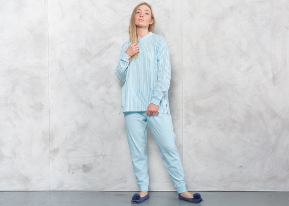 Vintage 90s Blue Striped PJs . Vintage Pajama Set