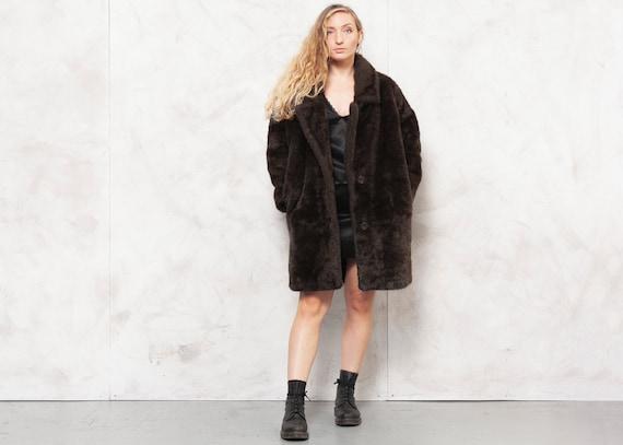 70s Oversized Coat Faux Fur Coat Vegan Brown Coat