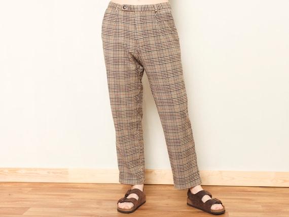 Plaid Retro Pants women vintage 80s checkered pan… - image 1