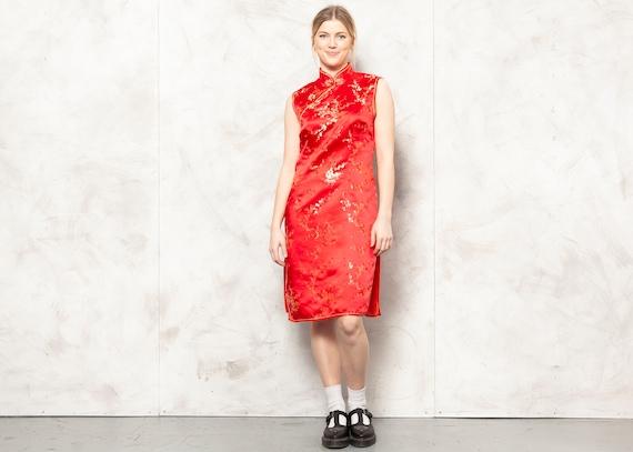 Midi Chinese Dress Vintage 90s Women Oriental Dres