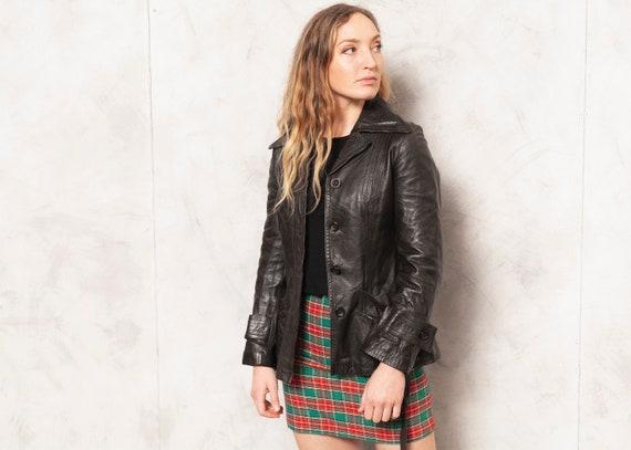 Black Leather Jacket 70s Leather Blazer Jacket Lon