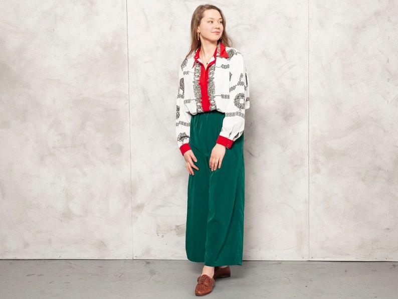 Vintage Women Shirt 80s patterned blouse royal print blouse chain print shirt boho shirt baroque shirt women vintage clothing size large