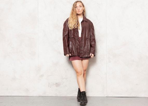 Brown Blazer Jacket 70s Leather Coat Leather Minim