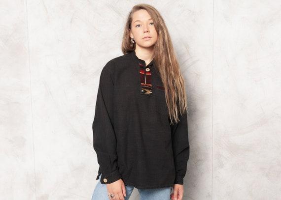 Vintage 80s Black Ethnic Shirt . Woven Insert Shir