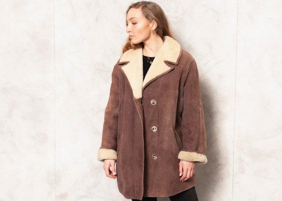 Suede Sheepskin Jacket Vintage 70s Brown Suede Fur