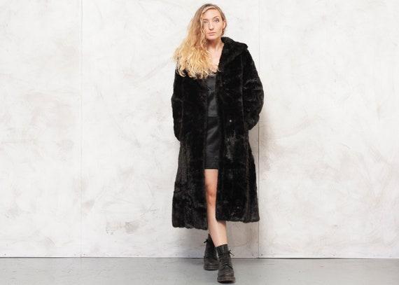 90s Faux Fur Coat Dark Brown Coat Longline Coat Fa