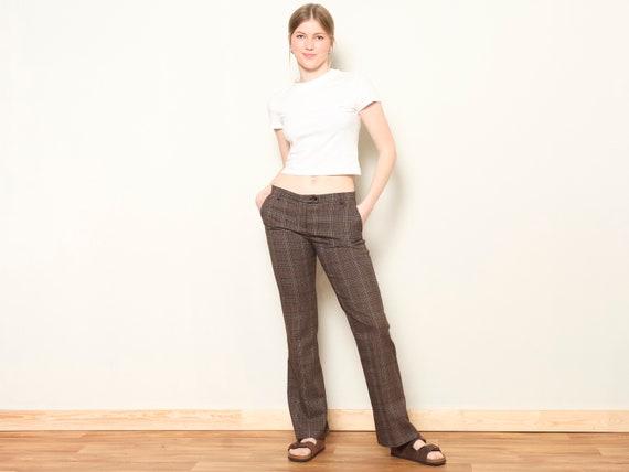 Plaid Flare Pants women vintage 80s checkered pan… - image 2