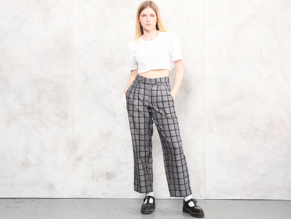 Relaxed Women Pants plaid vintage 80s checkered p… - image 2