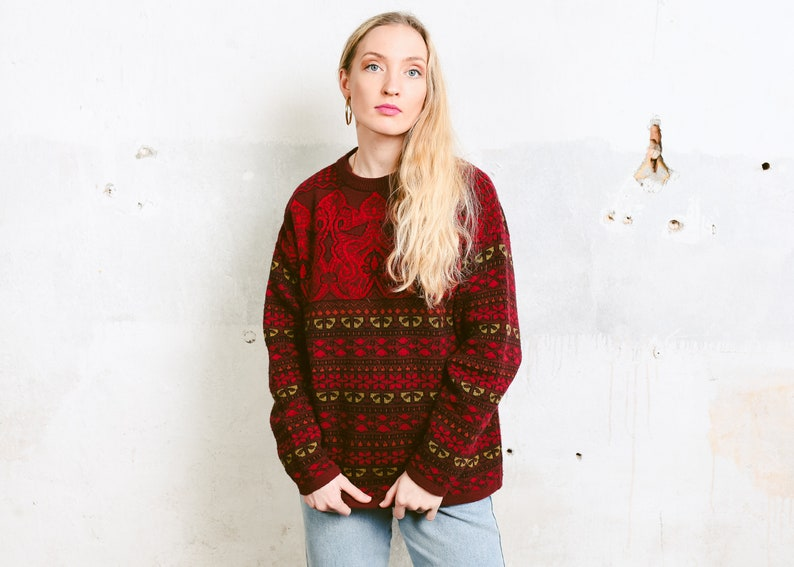 b6df4dd6463 Vintage 80s Knit Sweater . Red Patterned Jumper Crew Neck Long