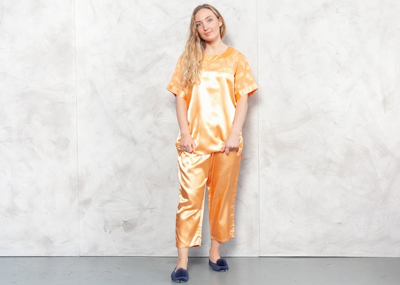 Vintage 90s Orange Silky Pajama Set . Vintage Paja