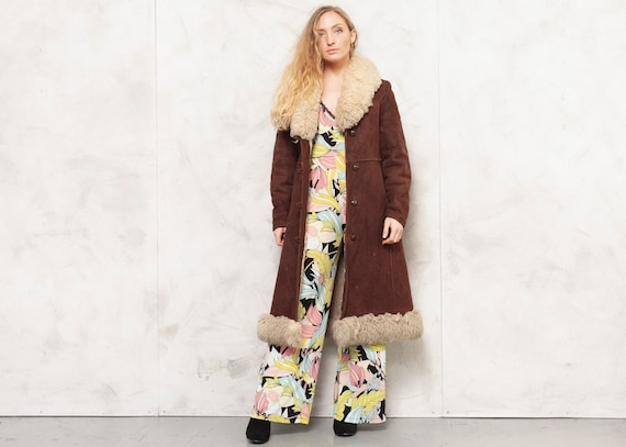 Penny Lane Coat 70s Afghan Coat Brown Leather Outw