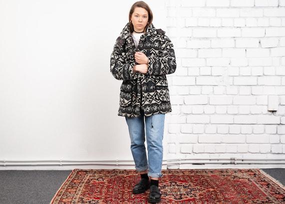 80s Patterned Fleece Coat . Vintage Cozy Winter Ja