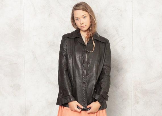 Vintage 70s Brown Leather Jacket Dark Brown Leathe