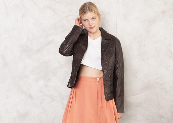 90s Brown Leather Jacket Vintage Leather Jacket 19