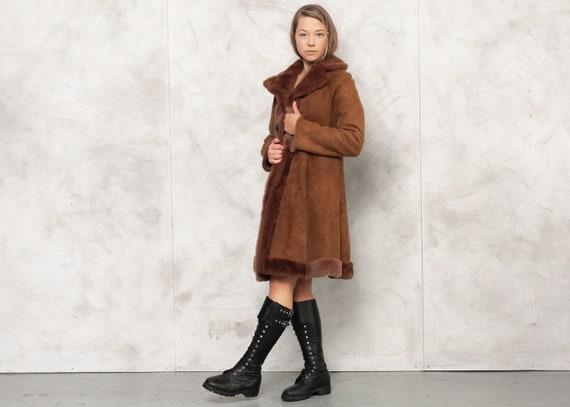 Vintage 70s Brown Penny Lane Suede Coat 70s Women