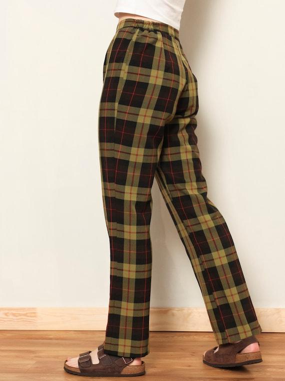 Plaid Summer Pants women vintage 80s checkered pa… - image 6