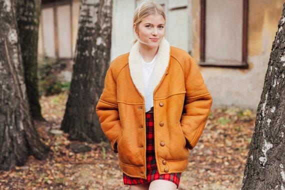 90s Shearling Jacket Vintage Brown Suede Jacket Wi