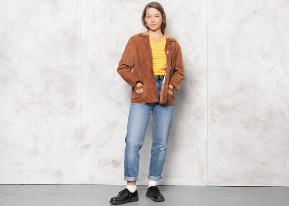 Vintage 70s Brown Suede Leather Jacket Autumn Oute