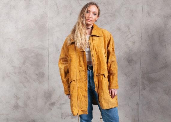 80s Burnt Orange Suede Parka Jacket . Vintage Sued