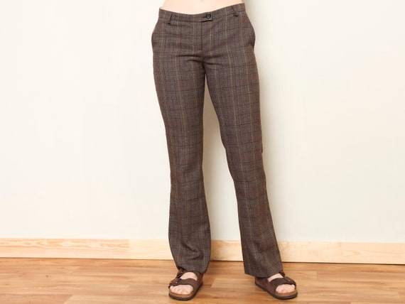 Plaid Flare Pants women vintage 80s checkered pan… - image 1
