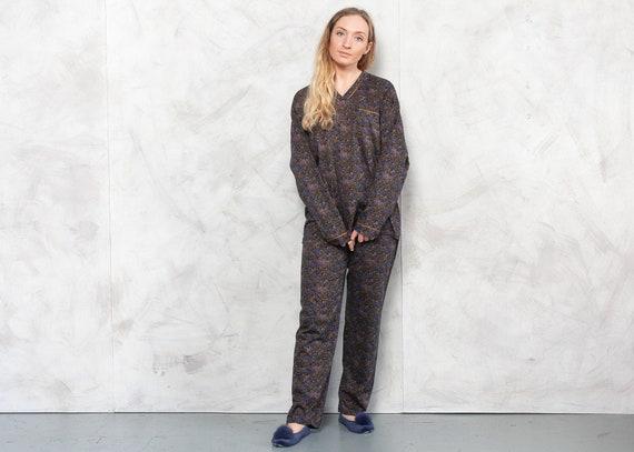 Vintage 90s Patterned Pajama Set . Vintage Cotton