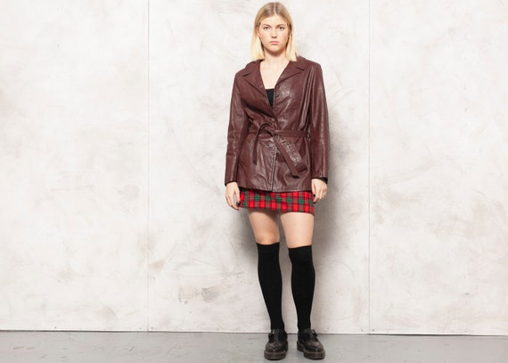 Bordeaux Leather Blazer Jacket Vintage 70s Nappa L