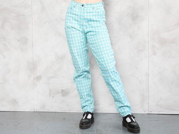 Plaid Summer Pants 80s checkered nerd pants light… - image 2