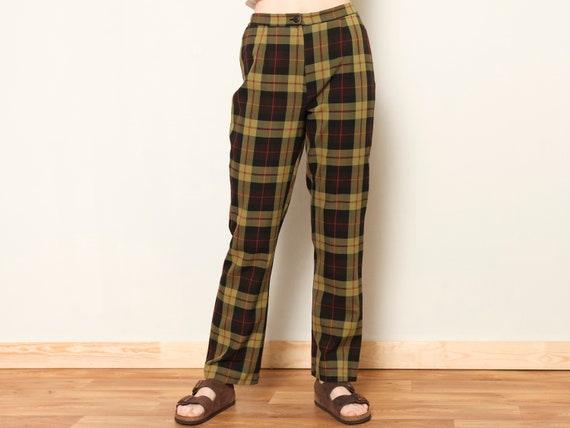 Plaid Summer Pants women vintage 80s checkered pa… - image 1