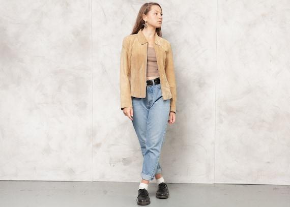 Vintage 90s Beige Suede Blazer Jacket Vintage Wome