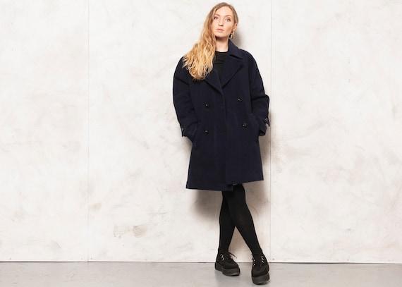 Wool Cashmere Coat Vintage 80s Casual Coat Women R