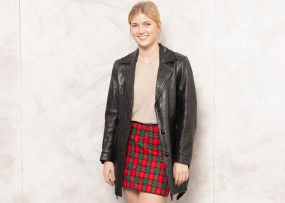 80s Leather Jacket Black Leather Coat Longline Jac