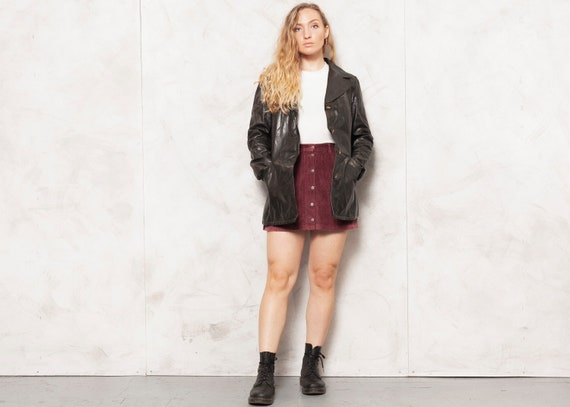 70s Leather Jacket Faux Fur Lined Jacket Dark Brow