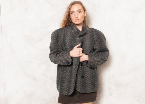 Power Shoulder Jacket 70s Patterned Wool Jacket Bl