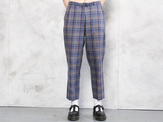 Check Print Pants 80s checkered nerd pants lightw… - image 1