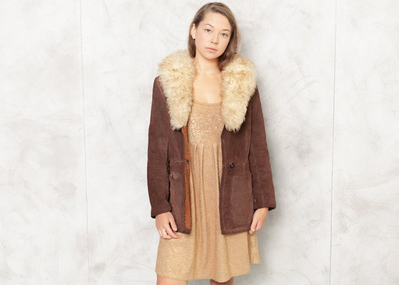 70s Suede Brown Jacket Sherpa Jacket Shearling Col
