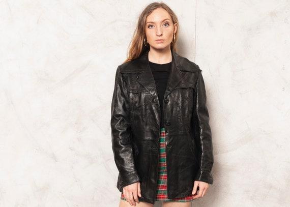 70s Leather Jacket Longline Leather Blazer Jacket