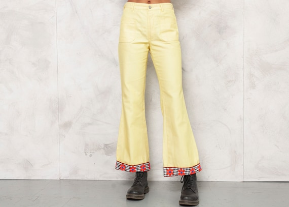 70s Yellow Trousers Denim Pants Flare Trousers Mid