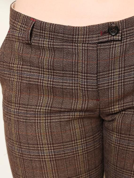 Plaid Flare Pants women vintage 80s checkered pan… - image 7