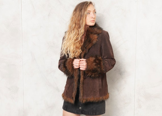 90s Suede Jacket Brown Faux Fur Trim Jacket Insula