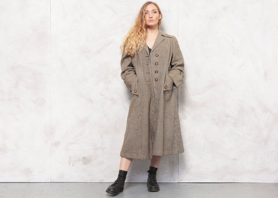 Vintage Plaid Wool Coat 50s Beige Princess Coat Re